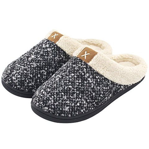 Women's Comfort Memory Foam Slippers Wool-Like Plush Fleece Lined House Shoes w/ Indoor, Outdoor Anti-Skid Rubber Sole
