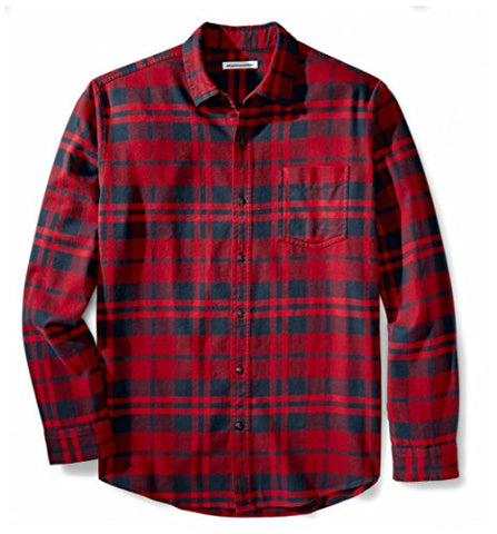 Amazon Essentials Men's Long-Sleeve Plaid Flannel Shirt, Red Plaid, Large