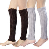 2 Pack of Womens Cable Knit Knee High Knitted Crochet Leg Warmers Long Socks