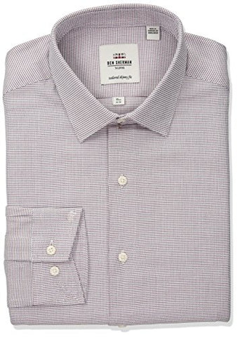 "Ben Sherman Men's Twill Dobby Soho Spread Fit Dress Shirt, Navy/Red, 18.5"" Neck 34""-35"" Sleeve"