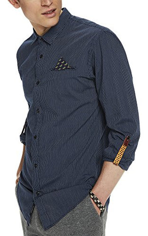 Scotch & Soda Men's Classic Shirt with Fixed Pochet and Sleeve Collectors, Combo a, S