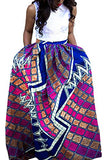 Annflat Women's African Floral Print Maxi Skirts A Line Long Skirts With Pocket Large Multi4