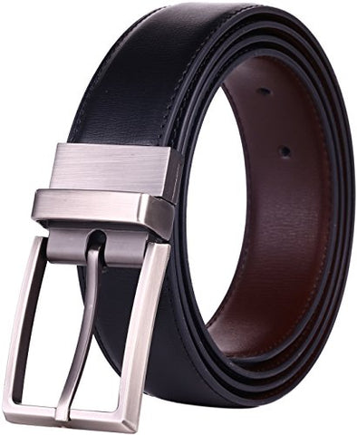 "Beltox Fine Men's Dress Belt Leather Reversible 1.25"" Wide Rotated Buckle Gift Box (Black/Brown,34-36) …"