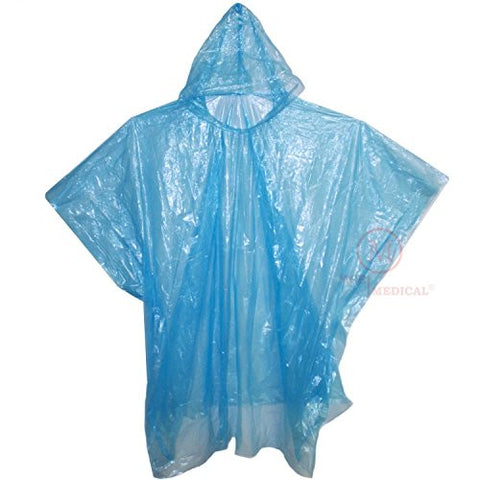 Pack of 10 Disposable Rain Ponchos with Hood, Blue