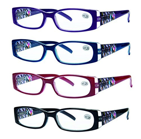 READING GLASSES 4 Pack Quality Readers Spring Hinge Stylish Designed Womens Glasses for Reading 4 Colors +1.75
