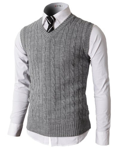 H2H Mens Casual Knitted Slim Fit V-neck Vest With Twisted Patterned GRAY US 2XL/Asia XXXL (KMOV037)