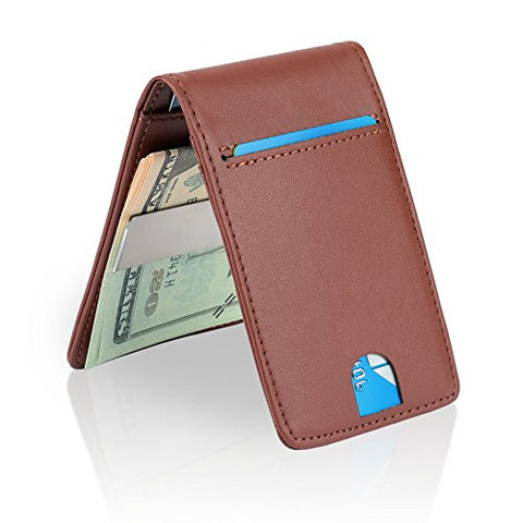 YOOMALL Slim Money Clip Wallets for Men Front Pocket Wallet Card Holder (brown (upgrades))