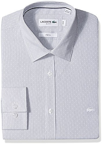 Lacoste Men's Long Sleeve Spread Collar Striped Jacquard Stretch Poplin, Mill Blue/White, 40