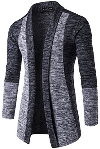 Whatlees Mens Casual Long Designer Splice Wool Blend Slim Fit Open Outwear Cardigan B339-DarkGrey-M