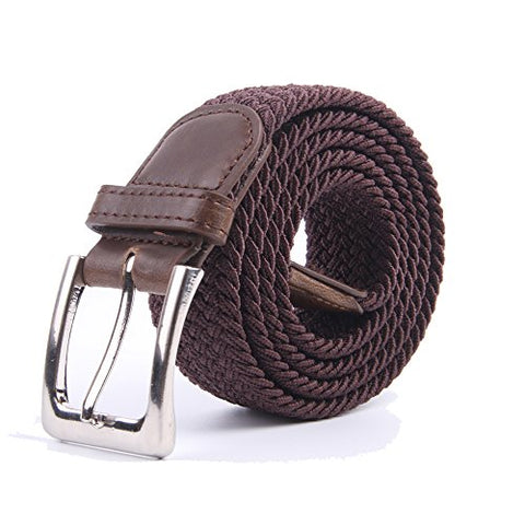 Canvas Elastic Fabric Woven Stretch Multicolored Braided Belts 2041-Coffee-M