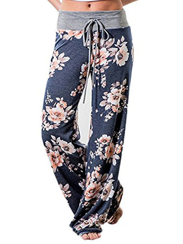 Famulily Women's High Waisted Loose Flaral Loose Long Drawstring Wide Leg Pants Lounge(Blue,Meidum)