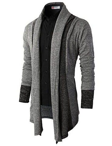 H2H Mens Casual Slim Fit Knit Cardigan with Double Shawl Collar GRAY US L/Asia XL (KMOCAL011_KMOCAL012)