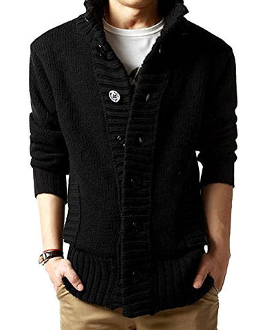 Men's Button Point Stand Collar Knitted Slim Fit Cardigan Sweater (M, Black)