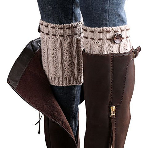 WILLTOO® 2015 Women Leg Warmer Knit Boot Socks Topper Cuff (Beige)
