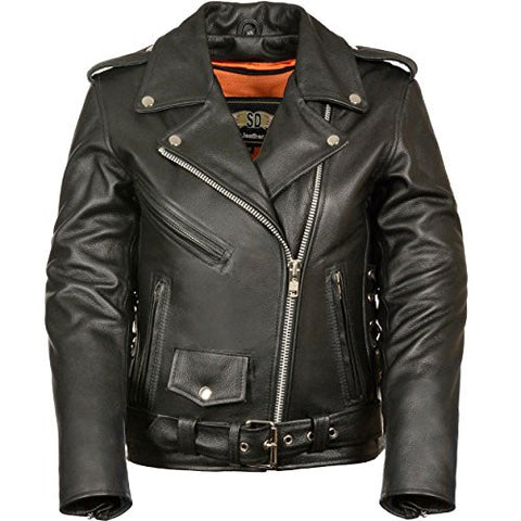 LC2701 Ladies Black Basic Classic Motorcycle Premium Leather Jacket with plain sides,2X