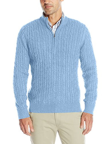 IZOD Men's Cable Solid 1/4 Zip Sweater, Deep Ocean, Large