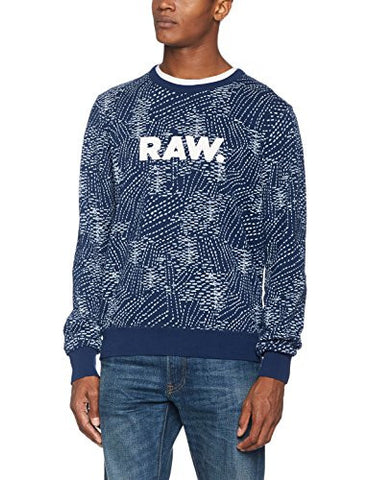 G-Star Raw Men's Sk Core Round Neck Sweater Long Sleeve, Tench Blue/Milk AO, Small