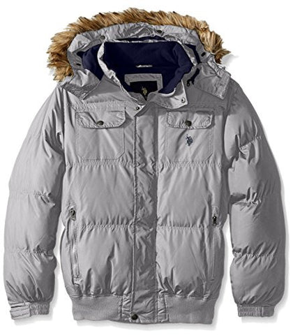 U.S. Polo Assn. Men's Short Snorkel Jacket with Polar Fleece Lining, Limestone, L