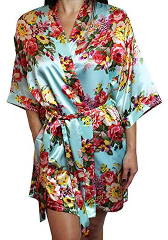 Women's Satin Floral Kimono Short Bridesmaid Robe W/ Pockets - Light Blue M/L