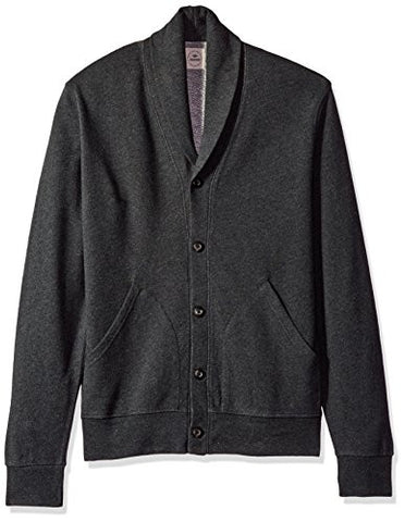 Dockers Men's Long Sleeve Shawl Collar Button Front Cardigan, Charcoal, Large