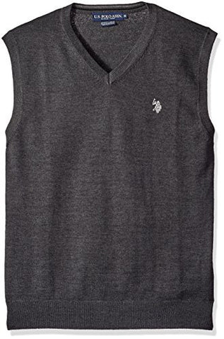 U.S. Polo Assn. Men's Solid Vest, Charcoal Heather, Large