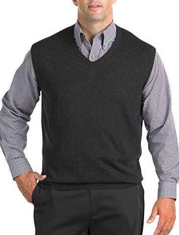 Harbor Bay Big & Tall V-Neck Sweater Vest (4XTALL, Carbon Heather)