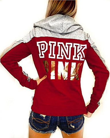 Huiyuzhi Women's Mix Color Long Sleeves Pullover Letters Printed Sweatshirt (M, Wine red-grey)
