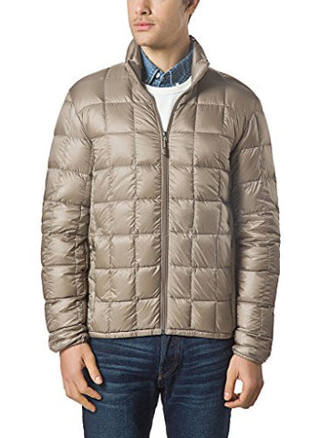 XPOSURZONE Men Packable Down Quilted Puffer Jacket Lightweight Puffer Coat Tan L