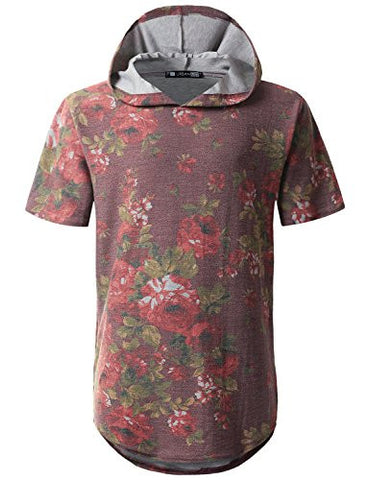 URBANCREWS Mens Hipster Floral French Terry Short Sleeve Hoodie BURGUNDY, M