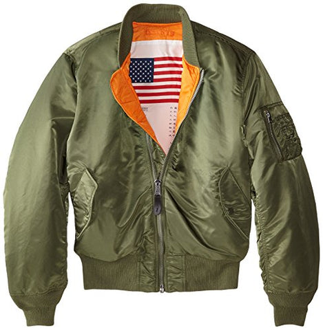 Alpha Industries Men's MA-1 Blood Chit Flight Bomber Jacket, Sage, Large