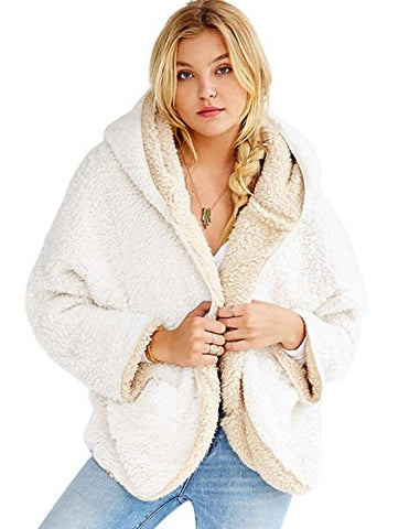 Qiuse Women's Lovely Double-Side Faux Lamb Fur Reversible Batwing Fleece Hooded Coat (Small, White)