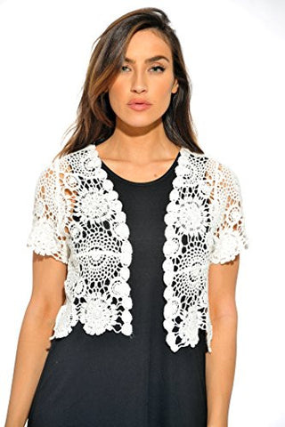 401147-Wht-M Just Love Bolero Shrug / Women Cardigan,White Floral Crochet,Medium