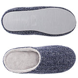 HomeIdeas Women's Cashmere Cotton Knitted Anti-slip House Slippers (Large / 9-10 B(M) US, Navy Blue)