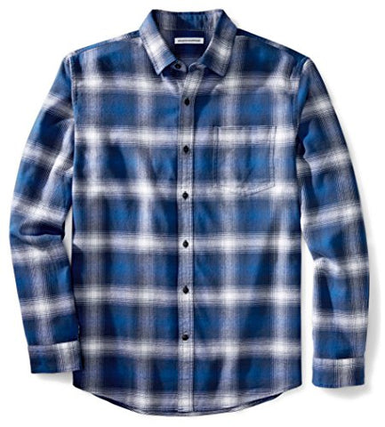 Amazon Essentials Men's Long-Sleeve Plaid Flannel Shirt, Blue Ombre Plaid, Large