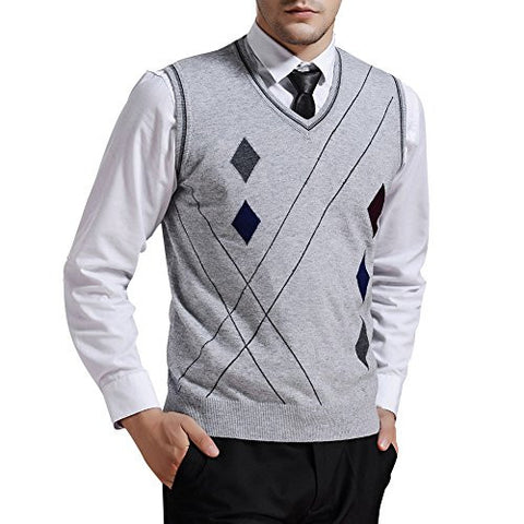 Zicac Men's V-neck Rhombus Knitwear Sweater Vest Waistcoat (L, Light Gray)