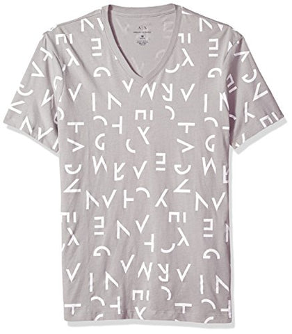 A|X Armani Exchange Men's All Over Letter Printed V Neck Tee, Segments Logo Alloy, Small