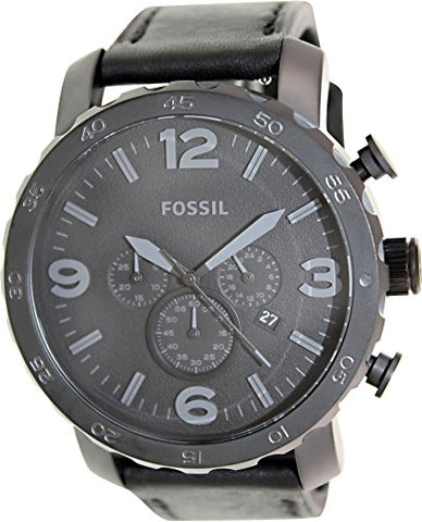 Fossil Men's JR1354 Nate Stainless Steel Chronograph Watch with Black Leather Band