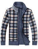 Yeokou Men's Casual Slim Full Zip Thick Knitted Cardigan Sweaters With Pockets (Large, Blue)