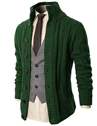 H2H Mens High Neck Twisted Knit Cardigan Long Sleeve Sweater GREEN US M/Asia L (KMOCAL020)