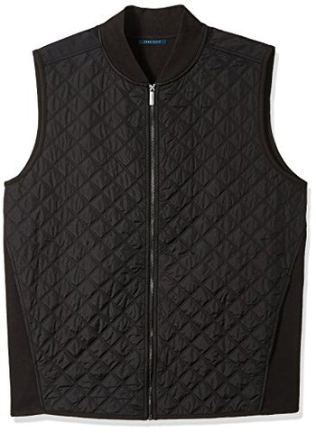 Perry Ellis Men's Big Quilted Nylon Full Zip Vest, Black, 3XL Tall