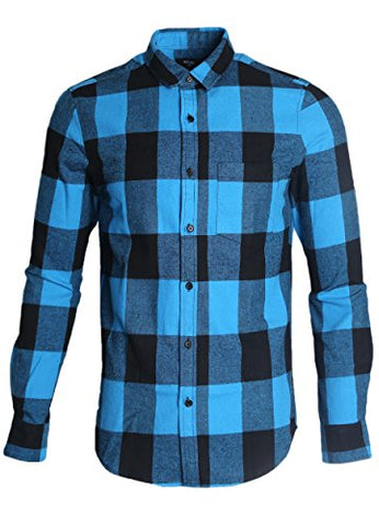 NUTEXROL Mens Long Sleeve Plaid Flannel Casual Shirts Checked Button Down Shirts A-Blue Large
