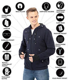 XY37 Men Travel Jacket Hoodie 10 Pockets Travel Pillow Eye Mask Face Mask Gloves (Large, Navy)