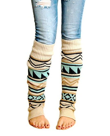 VIGVOG Women Boho Knitted Boot Gaiters Long Leg WarmerBeige