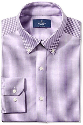 "Buttoned Down Men's Fitted Button-Collar Non-Iron Dress Shirt, Purple Small Gingham, 16"" Neck 33"" Sleeve"