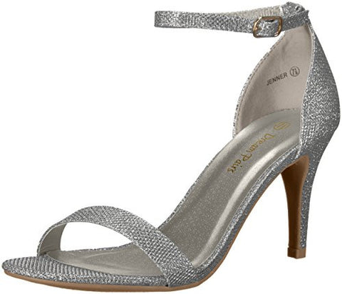 Dream Pairs Women's Jenner Dress Pump, SILVER GLITTER, 9 M US