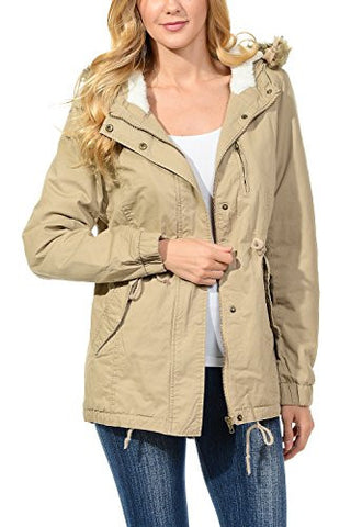Womens Faux Fur Hoodie Sherpa Lined Military Safari Utility Fashion Parka Jacket Khaki L