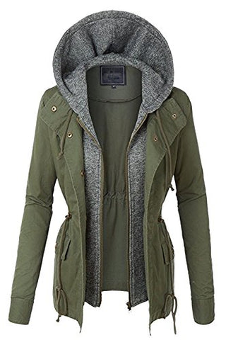 Fashion Boomy Womens Zip Up Military Anorak Jacket W/Hood (SMALL, AW-OLIVE)