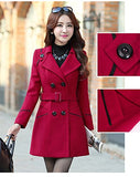 Youtobin Women's New Winter Dress-Coats Slim Long Woolen Coat XL Red