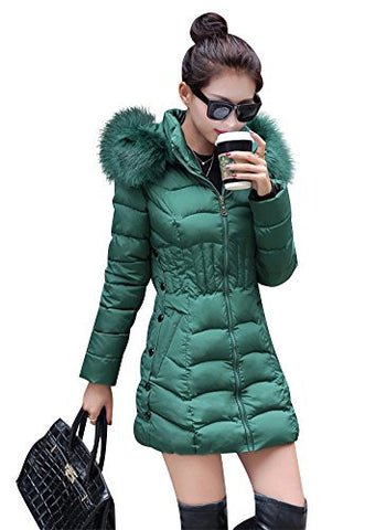 Mojessy Women's Parka Winter Coat Overcoat Long Down Jacket Outwear large Green