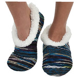 Womens Artisan Yarn Sherpa Snoozies Slipper Socks - Blue, Large